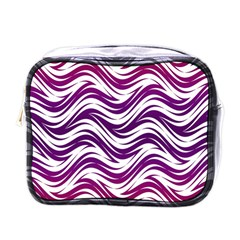 Purple Waves Pattern Mini Toiletries Bag (one Side) by LalyLauraFLM