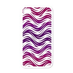 Purple Waves Pattern Apple Iphone 4 Case (white) by LalyLauraFLM