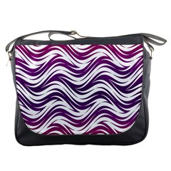 Purple Waves Pattern Messenger Bag by LalyLauraFLM