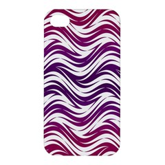 Purple Waves Pattern Apple Iphone 4/4s Premium Hardshell Case by LalyLauraFLM