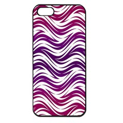 Purple Waves Pattern Apple Iphone 5 Seamless Case (black) by LalyLauraFLM