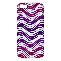 Purple Waves Pattern Apple Iphone 5 Premium Hardshell Case by LalyLauraFLM