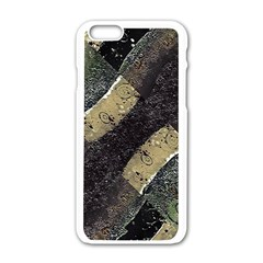 Geometric Abstract Grunge Prints In Cold Tones Apple Iphone 6 White Enamel Case by dflcprints