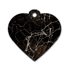 Spider Web Print Grunge Dark Texture Dog Tag Heart (two Sided) by dflcprints