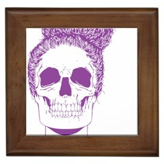 Purple Skull Bun Up Framed Ceramic Tile by vividaudacity