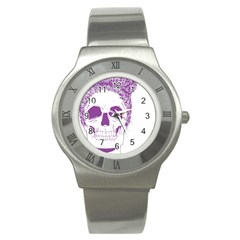 Purple Skull Bun Up Stainless Steel Watch (slim)