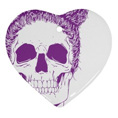 Purple Skull Bun Up Heart Ornament (two Sides) by vividaudacity