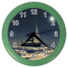 Navigating Trough Clouds Dreamy Collage Photography Wall Clock (color) by dflcprints