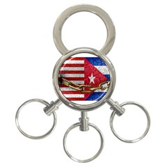 United States And Cuba Flags United Design 3-ring Key Chain