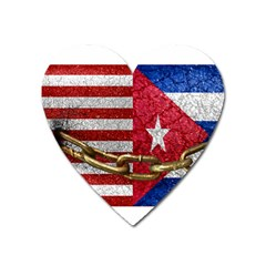 United States And Cuba Flags United Design Magnet (heart) by dflcprints