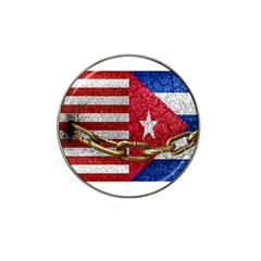United States And Cuba Flags United Design Golf Ball Marker 4 Pack (for Hat Clip)