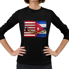 United States And Cuba Flags United Design Women s Long Sleeve T-shirt (dark Colored) by dflcprints