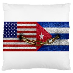 United States And Cuba Flags United Design Large Cushion Case (two Sided)
