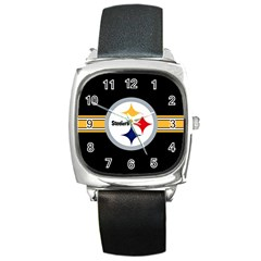 Pittsburgh Steelers National Football League Nfl Teams Afc Square Leather Watch by SportMart