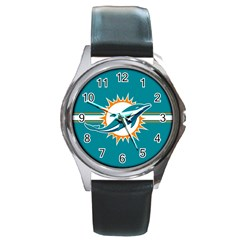 Miami Dolphins National Football League Nfl Teams Afc Round Leather Watch (silver Rim) by SportMart