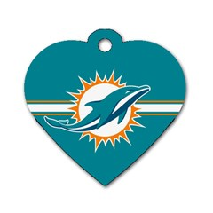 Miami Dolphins National Football League Nfl Teams Afc Dog Tag Heart (two Sided) by SportMart