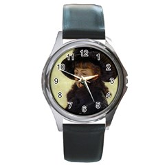 Kathleen Anonymous Ipad Round Leather Watch (silver Rim)