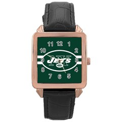 New York Jets National Football League Nfl Teams Afc Rose Gold Leather Watch  by SportMart