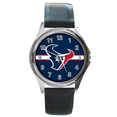 Houston Texans National Football League Nfl Teams Afc Round Leather Watch (silver Rim)