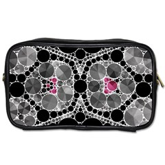 Bling Black Grey  Travel Toiletry Bag (two Sides) by OCDesignss