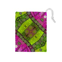 Florescent Pink Green  Drawstring Pouch (medium) by OCDesignss