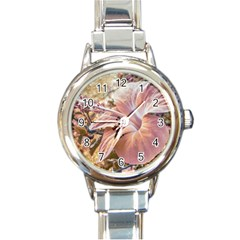 Fantasy Colors Hibiscus Flower Digital Photography Round Italian Charm Watch by dflcprints