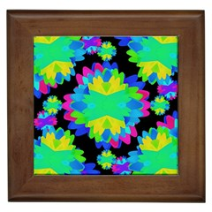 Multicolored Floral Print Geometric Modern Pattern Framed Ceramic Tile by dflcprints