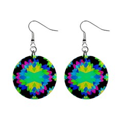 Multicolored Floral Print Geometric Modern Pattern Mini Button Earrings