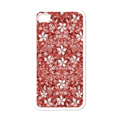 Flowers Pattern Collage In Coral An White Colors Apple Iphone 4 Case (white) by dflcprints