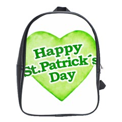 Happy St Patricks Day Design School Bag (large) by dflcprints