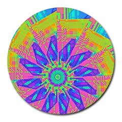 Neon Flower Purple Hot Pink Orange 8  Mouse Pad (round) by CrypticFragmentsColors