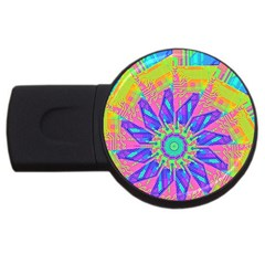 Neon Flower Purple Hot Pink Orange 4gb Usb Flash Drive (round) by CrypticFragmentsColors