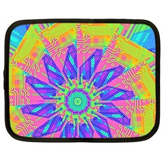 Neon Flower Purple Hot Pink Orange Netbook Sleeve (large) by CrypticFragmentsColors