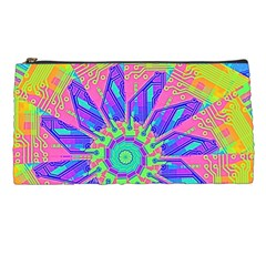 Neon Flower Purple Hot Pink Orange Pencil Case by CrypticFragmentsColors