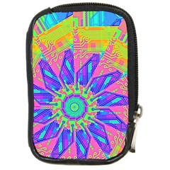 Neon Flower Purple Hot Pink Orange Compact Camera Leather Case by CrypticFragmentsColors