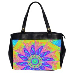 Neon Flower Purple Hot Pink Orange Oversize Office Handbag (two Sides) by CrypticFragmentsColors