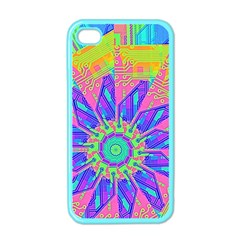 Neon Flower Purple Hot Pink Orange Apple Iphone 4 Case (color) by CrypticFragmentsColors