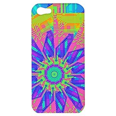 Neon Flower Purple Hot Pink Orange Apple Iphone 5 Hardshell Case by CrypticFragmentsColors