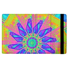 Neon Flower Purple Hot Pink Orange Apple Ipad 3/4 Flip Case by CrypticFragmentsColors
