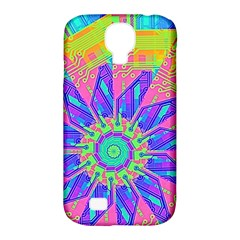 Neon Flower Purple Hot Pink Orange Samsung Galaxy S4 Classic Hardshell Case (pc+silicone) by CrypticFragmentsColors