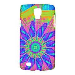Neon Flower Purple Hot Pink Orange Samsung Galaxy S4 Active (i9295) Hardshell Case by CrypticFragmentsColors