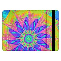 Neon Flower Purple Hot Pink Orange Samsung Galaxy Tab Pro 12 2  Flip Case by CrypticFragmentsColors
