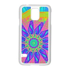 Neon Flower Purple Hot Pink Orange Samsung Galaxy S5 Case (white) by CrypticFragmentsColors