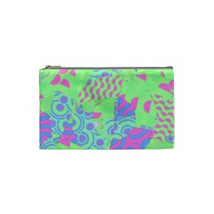Tropical Neon Green Purple Blue Cosmetic Bag (small) by CrypticFragmentsColors