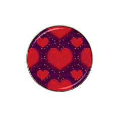 Galaxy Hearts Grunge Style Pattern Golf Ball Marker (for Hat Clip) by dflcprints