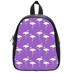 Flamingo White On Lavender Pattern School Bag (small) by CrypticFragmentsColors