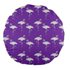 Flamingo White On Lavender Pattern 18  Premium Round Cushion  by CrypticFragmentsColors