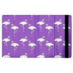 Flamingo White On Lavender Pattern Apple Ipad 2 Flip Case by CrypticFragmentsColors