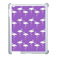 Flamingo White On Lavender Pattern Apple Ipad 3/4 Case (white) by CrypticFragmentsColors