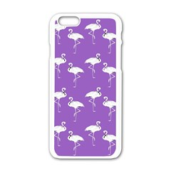 Flamingo White On Lavender Pattern Apple Iphone 6 White Enamel Case by CrypticFragmentsColors